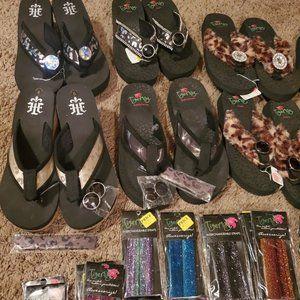 Tigerlily Interchangeable Flip Flops Shoes - Wholesale lot Tigerlily Changeable Flip Flops & ac